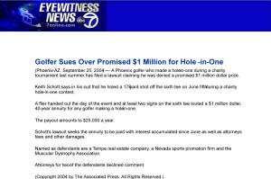 Million Dollar Hole in One Insurance Fraud Hole in one International lawsuit