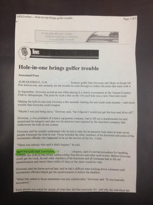 CGA hole in one insurance complaint ripoff Cincy Auto Dealers