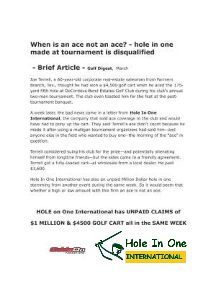 Golf Cart Hole in One Insurance Fraud Hole in One International EZGO