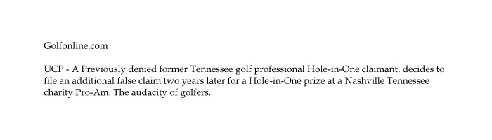 Golf Pro Ineligible Hole in One Insurance Contest Rules scam PGA