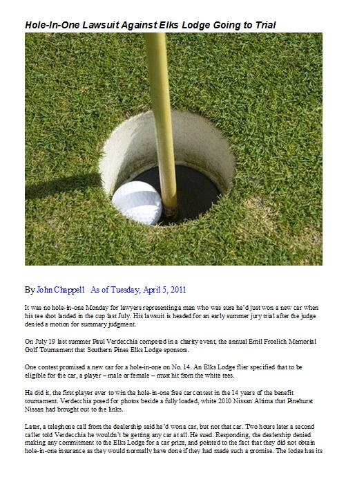 Hole in One Lawsuit Case Pinehurst Golf North Carolina Elks Lodge Did Not purchase Insurance Nissan
