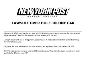 Hole in One News NY Post American Hole in One Rule Screw Up