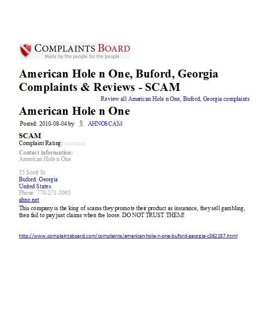 American Hole in One Acno.com case golf prize not awarded scam American Hole in One Association rip off company Buford Georgia