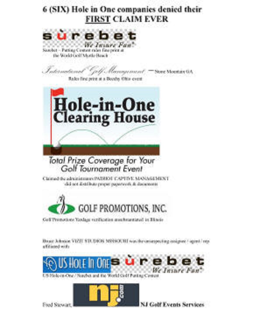 Surebet Hole in One fraud Al Elia US Hole in One Prize Not Awarded Putting Contest Complaints Golf Promotions